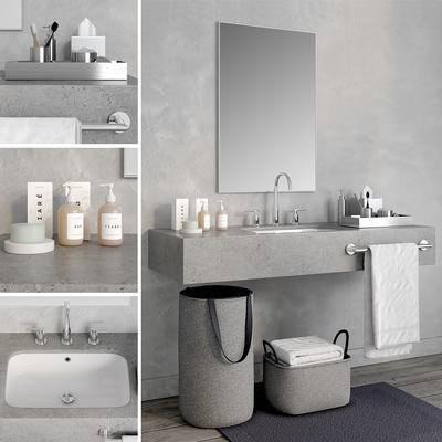 洗手台, 卫浴柜, 现代, 卫浴, 毛巾架, 洗浴用品
