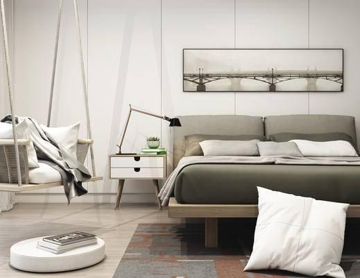 现代卧室, 秋千, 床头柜组合, 现代, 床具, 床头柜