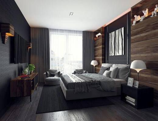 卧室, 床具, 现代卧室, 简约, 床头柜, 台灯, 电视柜, 植物, 盆栽, 摆件, 装饰品, 壁灯, 挂画, 装饰, 现代