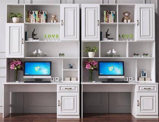 书桌, 书柜, 电脑桌, 写字桌, 儿童书桌, 玩具, 摆件, 装饰品, 陈设品, 美式