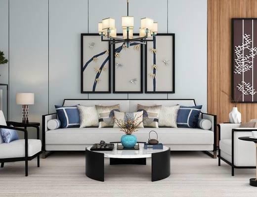 新中式, 沙发, 茶几, 茶具, 摆件, 吊灯, 挂画