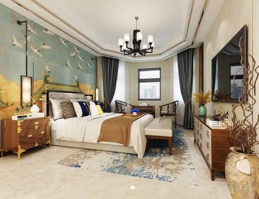 新中式, 卧室, 中式卧室, 吊灯, 床尾凳, 边柜