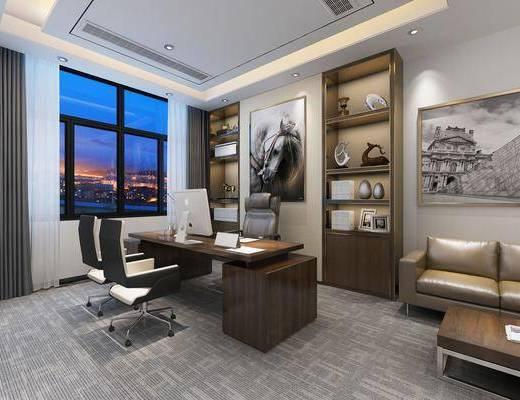办公室, 会议桌, 单人椅, 办公桌, 办公椅, 书桌, 装饰柜, 双人沙发, 盆栽, 装饰画, 挂画, 摆件, 装饰品, 陈设品, 现代