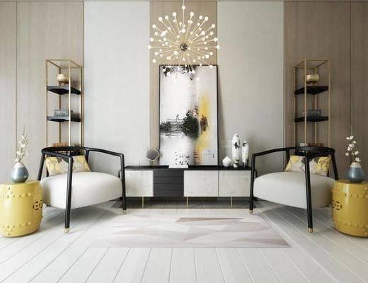 电视柜, 装饰柜, 摆件, 新中式装饰柜, 装饰画, 吊灯, 单椅, 摆件组合, 新中式