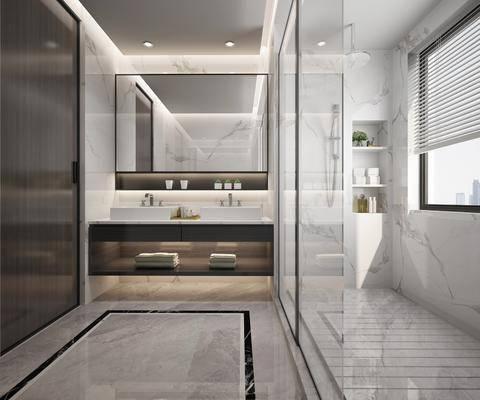 现代卫生间, 洗手台, 浴室