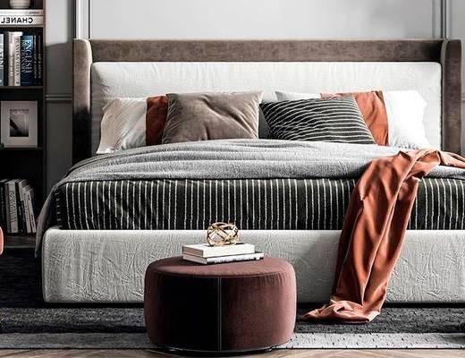 雙人床, 床具組合, 單椅, 吊燈