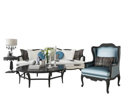 新中式沙发组合, 新中式沙发, 沙发, 茶几, 花瓶, 台灯, 椅子