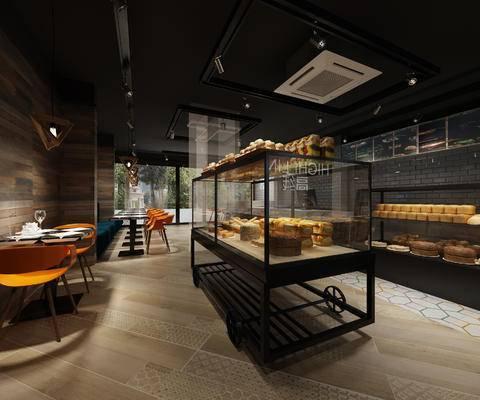 工业风, 咖啡店, 面包店, 餐桌椅, 货架