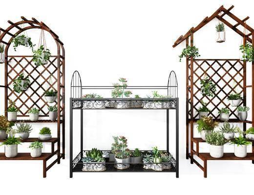 实木花架, 铁艺花架, 雕花铁艺, 盆栽组合, 现代