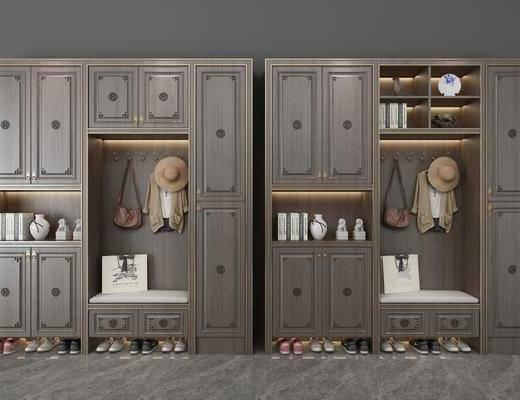 鞋柜, 新中式鞋柜, 摆件组合