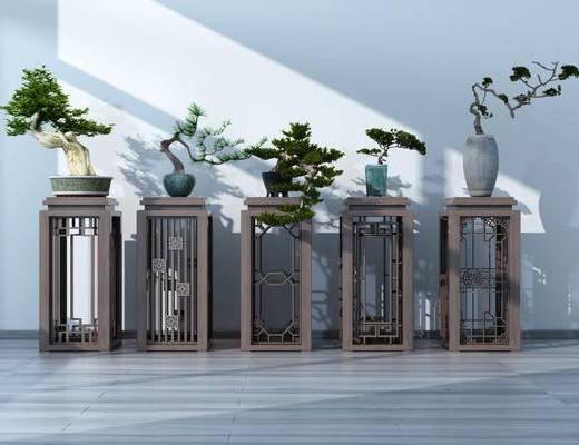 花几盆栽, 装饰架, 博古架, 绿植植物, 中式