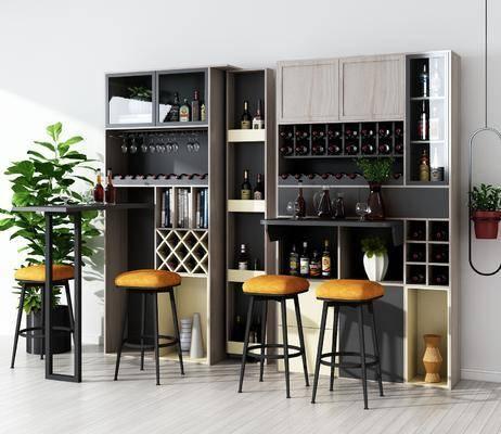 边柜, 酒柜, 吧台, 吧凳, 装饰柜