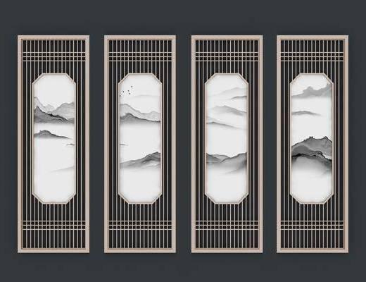 屏风隔断, 屏风组合, 新中式