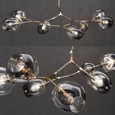 铁艺玻璃, 吊灯组合, 现代