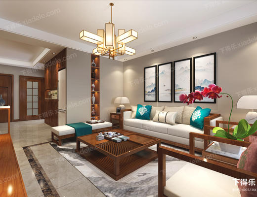 客厅, 沙发茶几组合, 沙发组合, 桌椅组合, 多人沙发