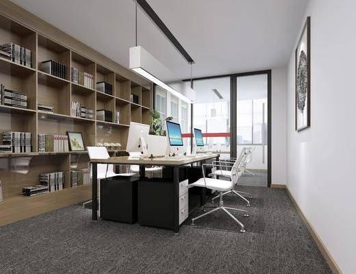 桌椅组合, 装饰画, 吊灯, 书柜, 书架