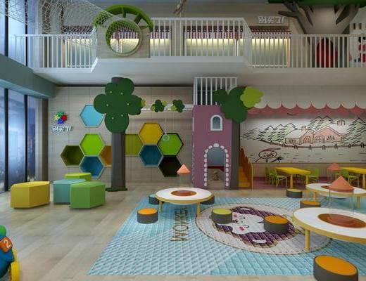 幼儿园教室, 幼儿园图书室, 幼儿园手工室, 活动中心, 儿童桌椅, 儿童装饰品摆件