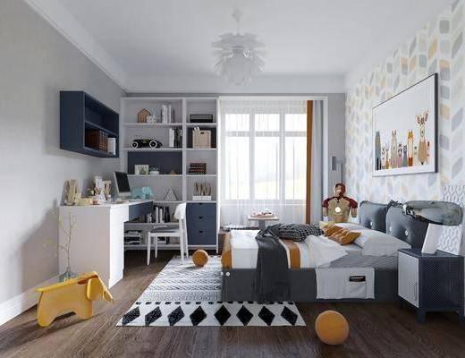 臥室, 兒童房, 雙人床, 床頭柜, 裝飾畫, 掛畫, 人物畫, 電腦桌, 單人椅, 裝飾柜, 擺件, 裝飾品, 陳設品, 北歐