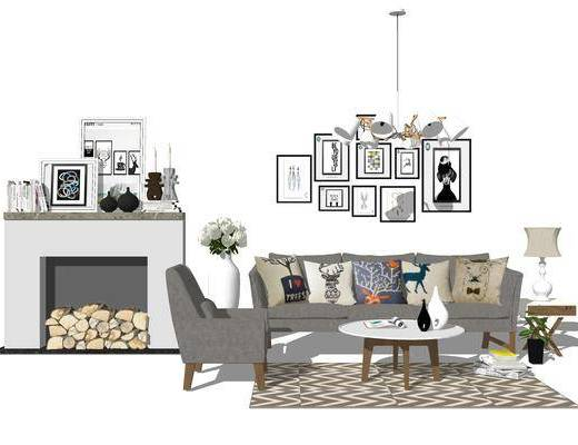 北歐沙發, 沙發組合, 北歐吊燈, 北歐茶幾, 壁爐, 擺件