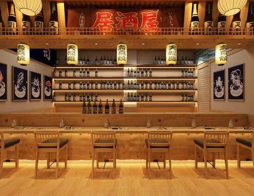料理餐廳, 明檔餐臺, 單人椅, 裝飾柜, 裝飾畫, 掛畫, 吊燈, 餐具, 擺件, 裝飾品, 陳設品, 日式