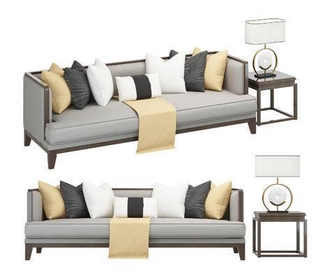 中式, 新中式, 沙发, 多人沙发, 边几, 台灯, 抱枕