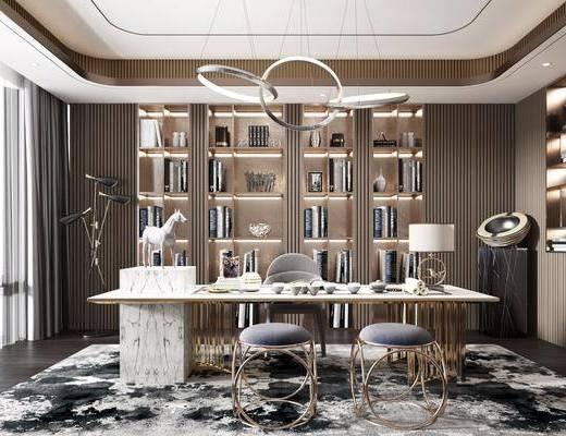 桌椅组合, 书柜, 吊灯