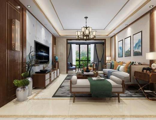 沙發組合, 茶幾, 吊燈, 裝飾畫, 電視柜, 餐桌, 柜架組合