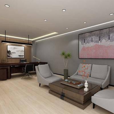 办公室, 双人沙发, 单人沙发, 茶几, 装饰画, 摆件, 办公桌, 装饰柜, 吊灯, 单人椅, 中式