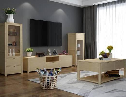 林氏木业, 电视柜, 北欧, 现代, 纸篓, 地板, 窗帘, 地毯