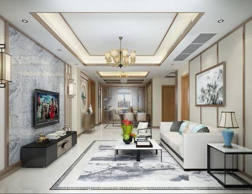 客厅, 沙发组合, 沙发茶几组合, 中式沙发