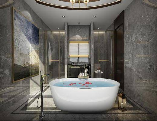 衛生間, 浴缸組合, 洗手臺組合, 花灑組合, 后現代