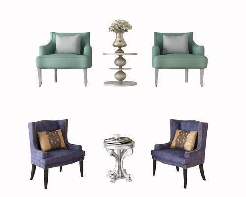 单人沙发, 茶几, 圆几, 摆件, 装饰品, 沙发, 简欧