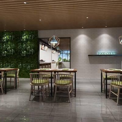 食堂, 餐厅, 饭店, 现代, 餐桌椅, 桌子, 椅子, 餐桌, 吊灯, 植物墙