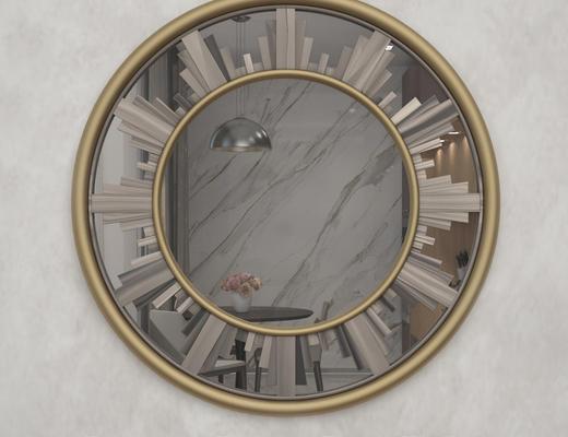 后现代, 金属镜子, 圆镜, 镜子
