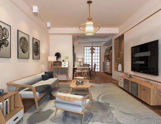 新中式客厅, 中式客厅, 中式沙发, 沙发组合, 沙发茶几组合, 新中式