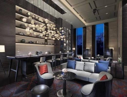 现代简约, 吧台吧椅组合, 沙发组合, 吊灯, 下得乐3888套模型合辑