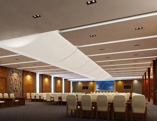 会议室, 会议厅, 现代会议室, 现代, 桌椅组合, 单椅, 植物, 盆栽