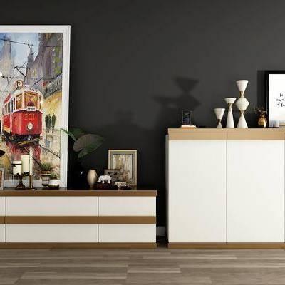 边柜, 装饰画, 储物柜, 摆件, 现代