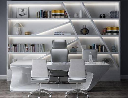 现代办公桌, 办公桌, 桌椅组合, 办公区