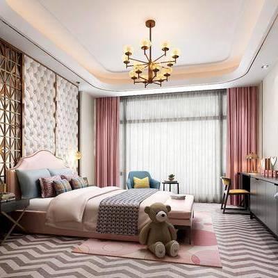 现代儿童房, 现代, 儿童房, 床, 屏风, 电视柜