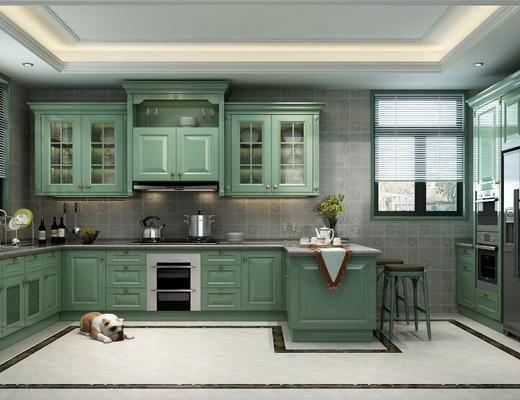 厨房, 橱柜, 厨具, 洗手台, 装饰柜, 摆件, 装饰品, 陈设品, 吧台, 吧椅, 单人椅, 简欧