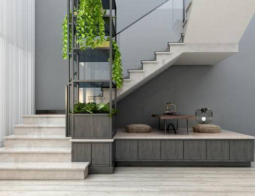 现代楼梯, 植物架, 植物, 装饰, 茶桌, 坐垫