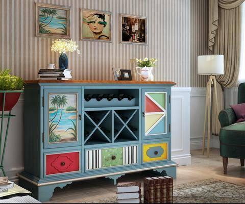 餐边柜, 装饰柜, 边柜, 装饰画, 挂画, 落地灯, 单人沙发, 地中海