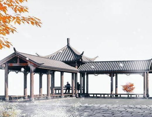 园林景观小品, 凉亭, 木结构休闲长廊, 古建筑