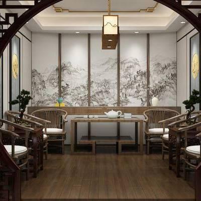 会客室, 新中式, 中式, 会客厅, 洽谈室, 客厅, 单椅, 椅子, 吊灯