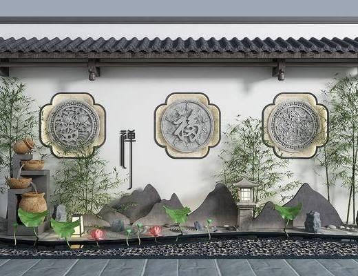 园艺小品, 假山竹子, 景观, 竹子, 新中式