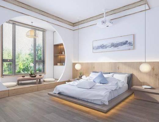 單人床, 床具組合, 裝飾畫, 吊燈