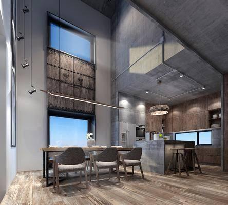 现代客厅, 别墅, 客餐厅, 卧室, 北欧, 沙发组合, 餐桌椅