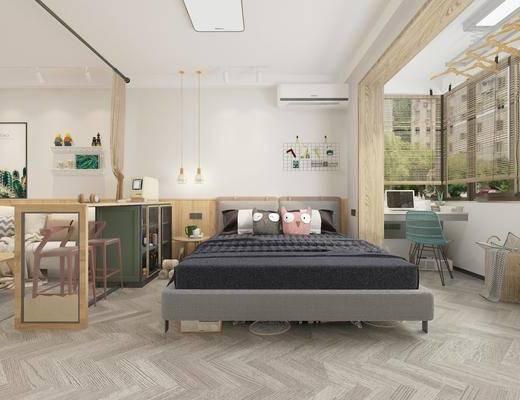 双人床, 桌椅组合, 装饰画