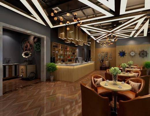 咖啡厅, 前台, 盆栽, 绿植, 植物, 墙饰, 餐桌, 单人椅, 吊灯, 工业风